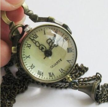 Steampunk Victorian Era Bubble Glass Pocket Watch with Bangles on a Chain - Antique Brass Finish