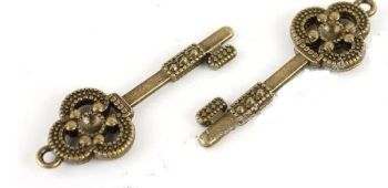 Petite Bronze Plated Steampunk Skeleton Key Charm for Finishing Jewelry or Costumes