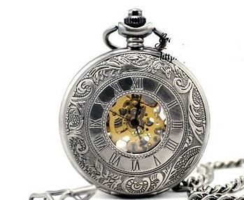 Titanium White Finish Embossed Victorian Style Steampunk Pocket Watch with Roman Numerals