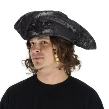Old Black Pirate Hat - Distressed Ultra-Suede