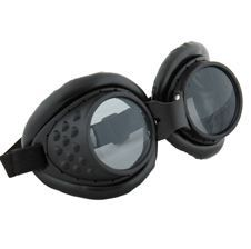 Steampunk Cyberpunk Radioactive Aviator Goggles - Black on Black