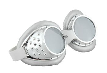 Steampunk Cyberpunk Radioactive Aviator Goggles - Silver and White