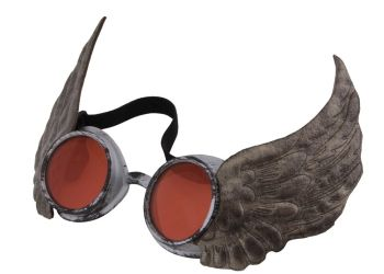 Steampunk Winged Goggles - Silver