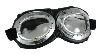 Aviator Goggles - Silver and Black with Clear Lenses