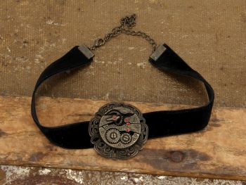 Steampunk Black Velvet Antique Gear Choker