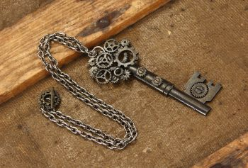 Steampunk Large Key Antique Gear Necklace