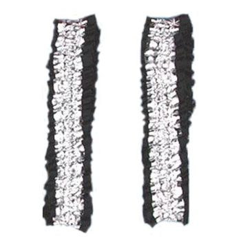 Roaring 20's - Wild West - Victorian Garters Armbands - Silver and Black Satin