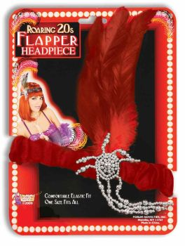 "Charleston Flapper Headpiece with Diamond"" Accents - Red"