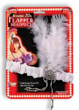 "Charleston Flapper Headpiece with ""Diamond"" Accents - White"