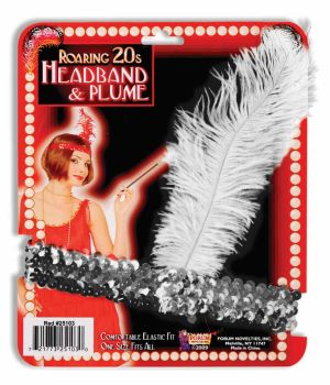 Flapper Head Band – Silver Shimmer with Feather