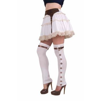 Steampunk White Buckled Spats