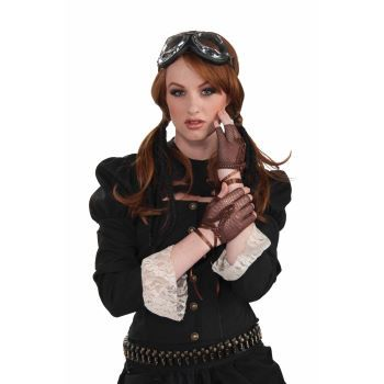 Steampunk Victorian Fingerless Brown Gloves by Forum Novelites