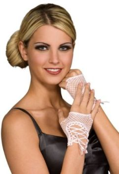 Pink Fingerless Wrist Length Lace-up Fishnet Gloves