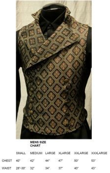 Steampunk or Regency Era Cavalier Vest in Brown and Gold Diamond Tapestry Fabric by Shrine of Hollywood