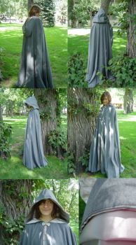 Smoke Gray Cloak with Silver Grey Satin Lining