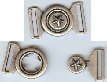Texas Lone Star Clasp Closure in Antique Silver Finish
