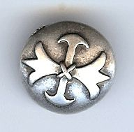"Musketeer (Fleur di Lis) Button, Antique Silver Finish - 1 1/8"" (28mm)"
