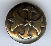 "Musketeer (Fleur di Lis) Button, Antique Brass 1 1/8"" (28mm)"