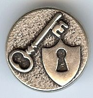"Key and Lock Shield Button in Antique Silver Finish 3/4"" (18mm)"