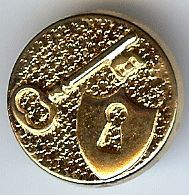 "Lock and Key Shield Button in Gold Finish 7/8"" (23mm)"