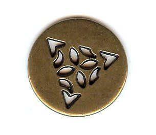 "Celtic Triangle Button – Antique Brass Finish. 3/4"" Button (20mm)."
