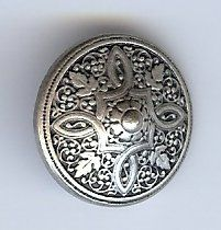 "Persian Shield Button; Antique Silver Finish. 3/4"" (19mm)"