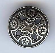 "Medieval Templar Cross Metal Button 1 1/8"" (28mm). Antique Silver Finish"