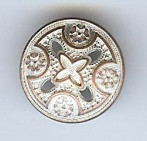 "Medieval Templar Cross Button. Silver Copper Finish with light highlights 3/4"" (19mm)"