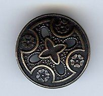 "Medieval Templar Metal Cross Button. Antique Brass Finish 1 1/8"" (28mm)."