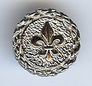 "Fleur De Lis Button. Dull Nickel finish. Size  3/4"" (18mm)"