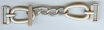 "Linked Chain Clasp in Matt Silver Finish 4""x1""."