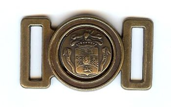 "Classic Coat of Arms Clasp/Buckle in Antique Brass Finish. 1.75"" X 1"""