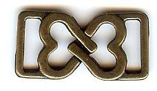 "Small Interlocking Hearts Clasp ""You Complete Me"" in Antique Brass Finish. Size .5"" X 1"""