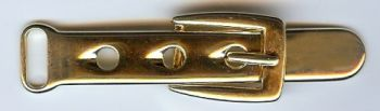 "Belt and Buckle Metal Cloak Clasp/Buckle in Shiny Gold finish. Size 3"" X .75"""