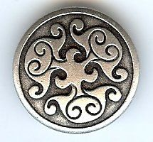 Renaissance Swirl Metal Button in Antique Silver Finish