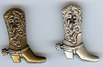 Cowboy Boot Pin in Antique Brass or Antique Silver Finish Metal