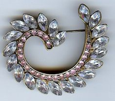 Victorian Swirl Brooch in Gunmetal Fnish with Clear and Pink Stones