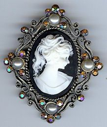 Cameo Brooch in Antique Brass Finish with Brown, White and Pearl Finishing Touches