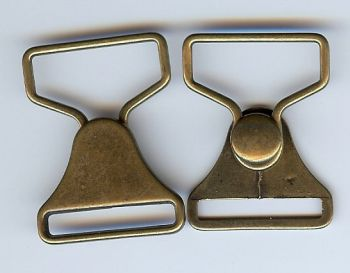 Overalls Latch Clasp Closure in Antique Brass Finish