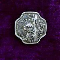Bunny Pewter Buttons-Card of 4.  5/8 Inch