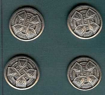 "Celtic Cross Buttons - Pewter - 7/8"" - Card of 4"