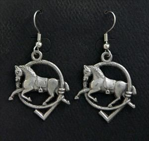 Horse Hunt Earrings -  Solid Pewter