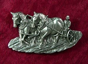 Draft Horse Plowing Pin - Solid Pewter