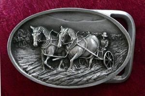 Draft Horse Plowing Buckle - Solid Pewter