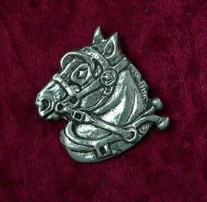 Draft Horse Head Pin - Solid Pewter