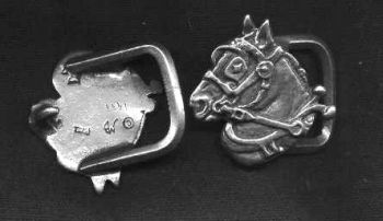 Small Draft Horse Head Buckle - Solid Pewter