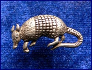 Armadillo Hat or Scatter Pin - Solid Pewter