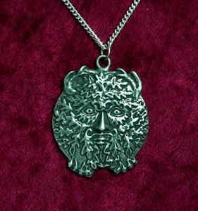 Oak Leaf Greenman Pendant (Solid Pewter)