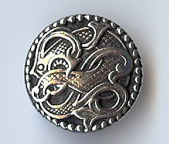 "Viking Drage Entwined Dragon Button - Solid Pewter 13/16"" - 20MM"