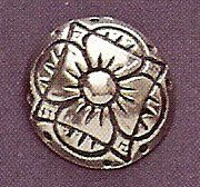 "H�ndst�pte Knapper Four Petal Flower Pewter Button 17MM - 11/16""."